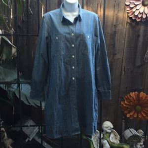 J. Crew Dresses - J. Crew size L jean dress bottom down New